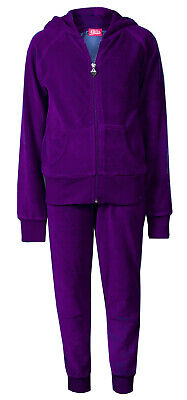 Love Lola Childrens Girls Velour Cuff Tracksuit Purple Age 9/10 Brand New