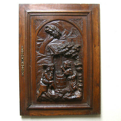 Antique French Hand Carved Wooden Panel, Courting Scene, Neo-Renaissance Style