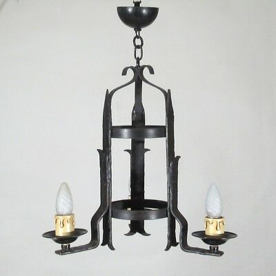 Vintage French Wrought Iron Chandelier, Three Lights