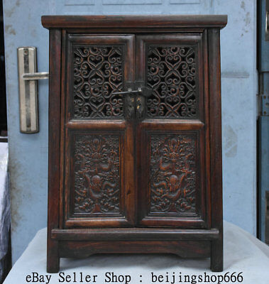 "22.8"" Old Chinese Dynasty Huanghuali Wood Dragon Bead Cupboard Cabinet Furniture"
