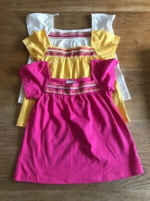 Bnwt M & S Girls 3 Pack Summer Smock Tops Age 1-2 Years Pink Yellow Cream