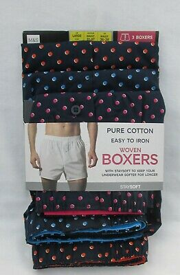 Men's Marks & Spencer Navy Mix Spotted Staysoft Woven Boxers 3 Part Set Size L