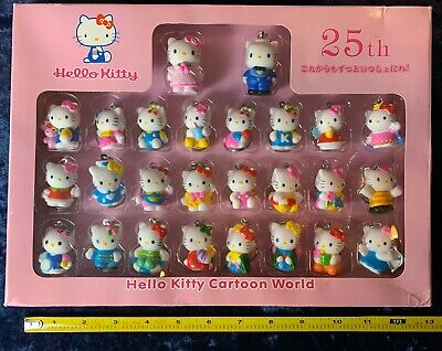 "1995 Hello Kitty 25th Anniversary Set With 26 Keychain 1.5"" & 2"" Figurines 90s"