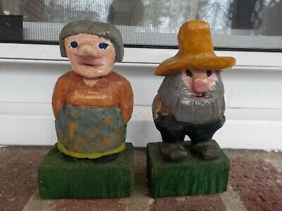 Vintage Pair Small Hand CARVED Painted WOOD HILLBILLY Man & Woman c1971