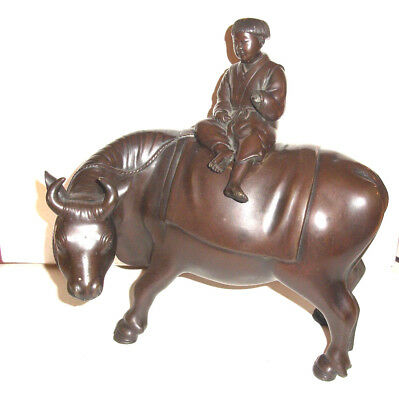 A Superb  Antique Chinese Bronze Fisherman on Water Buffalow Figure 19th C