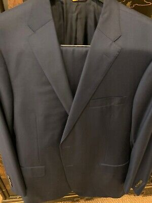 Hickey Freeman Navy Blue Solid Suit Beacon 46L