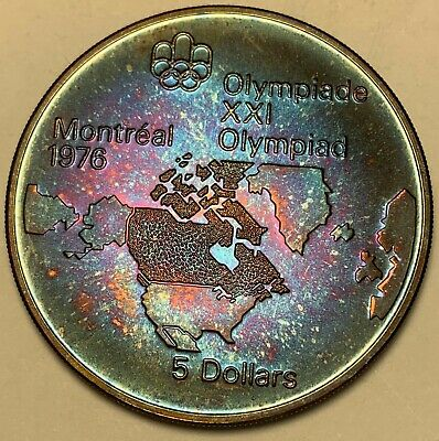 1973 Canada 5 Dollars Silver Map Of North America Purple Toned Color Unc (Dr)