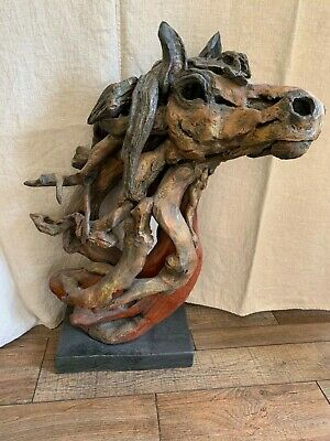 Hand carved driftwood horse head