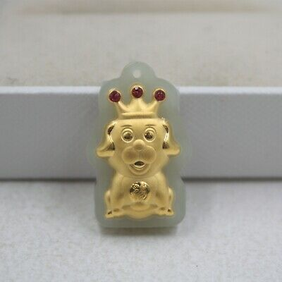 Hot Sale Pure 24K Yellow Gold & Natural Jade Red Gem Happy Crown Dog Pendant