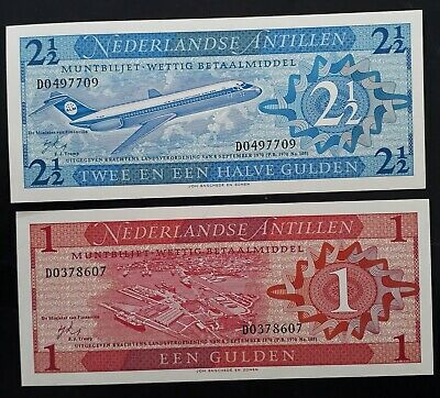 SCARCE 1970 Netherlands Antilles pair of 1& 2 1/2 Gulden Banknotes P 20a 21a UNC