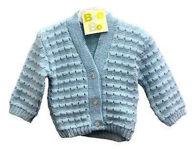 Knitted Blue Cardigan Jumper for Baby 0-12 Months