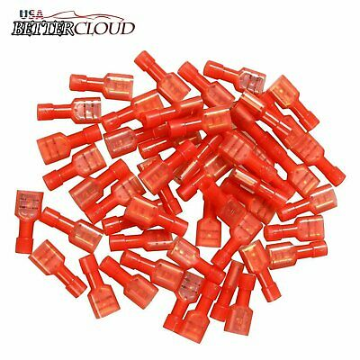 100x 1/4'' Fully Insulated Red Female Electrical Spade Crimp Connector Terminals
