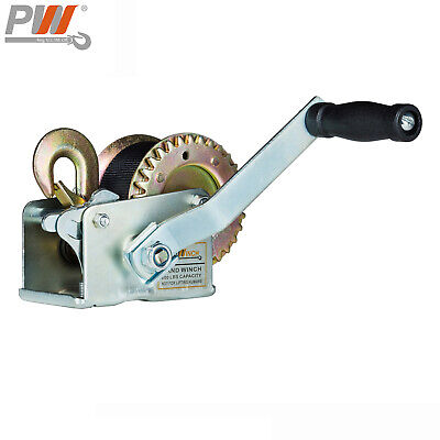 ProWinch 600 lbs Dual Gear Manual Hand Winch 25 ft. Strap and Hook