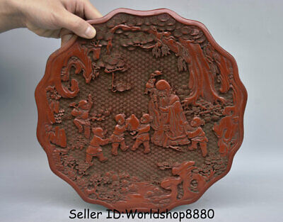 "11.2""Qianlong Marked Old China Red Lacquerware Dynasty Shouxing God Plate Screen"