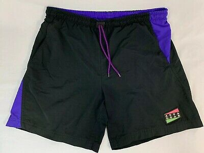 Vintage 80/90's Nike Aqua Gear Black Neon Purple Pink Green Nylon Water Shorts