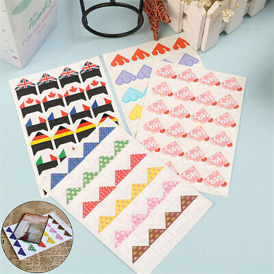 10 Sheet Cartoon Photo Corners Stickers Self Adhesive Pictures Holder For Album