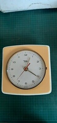 Vintage ceramic yellow and white household wall clock, for repair DIEHL ELECTRO