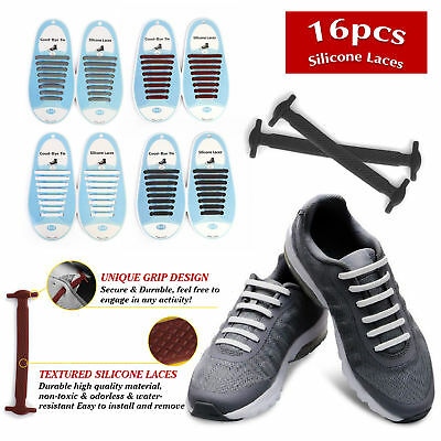 Easy No Tie16pcs Lazy Shoelaces Elastic Silicone Flat Strings Adult Shoe Laces