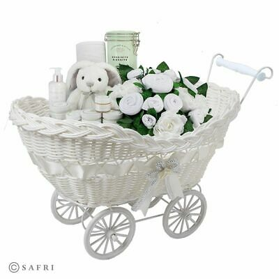Girls Boys Baby Pram Hamper Wicker Basket New Born Baby Shower Party Gift