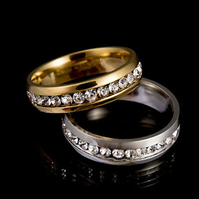 GC- Men Women Couple Lover Rhinestone Steel Engagement Ring Wedding Jewelry Chea