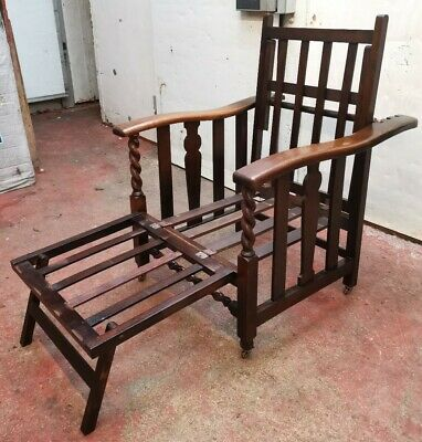 Arts & Crafts Reclining Oak Stickley / Morris Style Folding Arm Chair - Day Bed