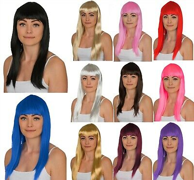 "Ladies Long Costume Wig 19"" Straight Hair Wig Fancy Dress Cosplay Pick A Colour!"