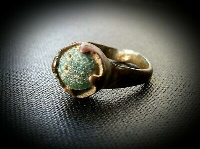 Ancient Medieval Artefact Viking Bronze Magic Ring With Blue Gem 600 - 900 A.d.