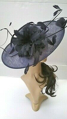 Navy Blue Hatinator..Statement with bow & loops Wedding.races.,ascot