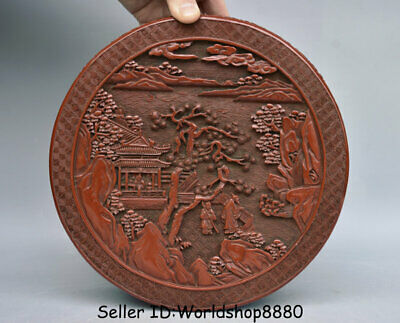 "8.8"" Qianlong Marked Old China Red Lacquerware People House Dynasty Jewelry box"