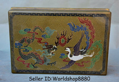 "12.4"" Antique Old Chinese Wood Lacquerware Dynasty Dragon Phoenix Storage Box"