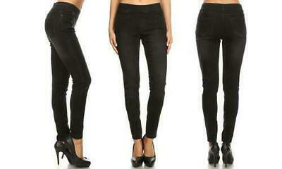 Women's Pull-on Slimming Denim Jeggings - Jvini -  Black - Plus Sizes