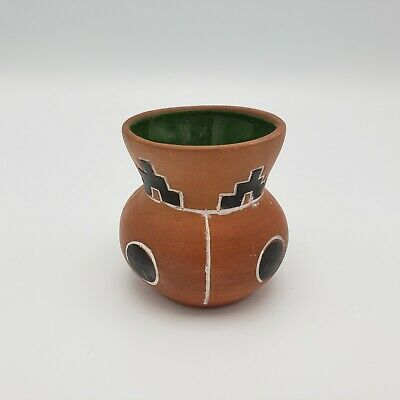 Small Vintage Hand Painted Mexican Clay Pot