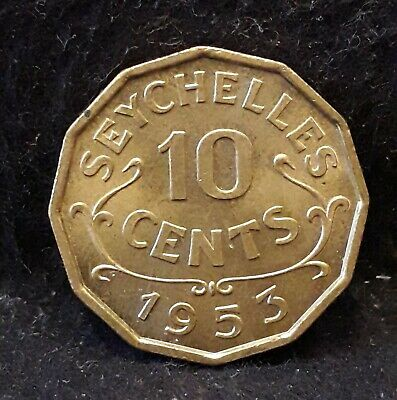 1953 Seychelles 10 cents, early Elizabeth II, UNC, KM-10 (SE3)