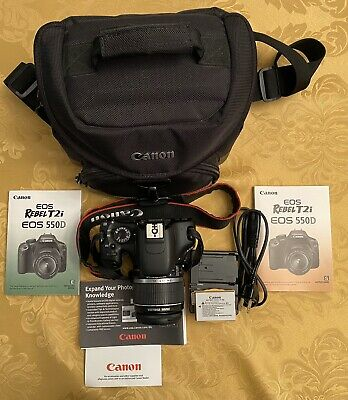 CANON EOS REBEL T2i 18MP DIGITAL DSLR CAMERA BODY W/ CANON CAMERA BAG & MANUALS