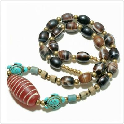 Lovely Necklace with Antique Glass , turquoise Agate stones   # 163