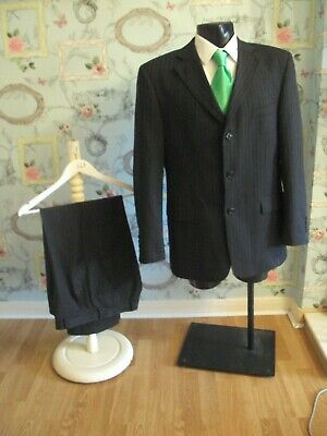 """Suit chest 42 waist 34 By Taylor&Wright grey pinstripe 3 button jacket L29""""(43)"""