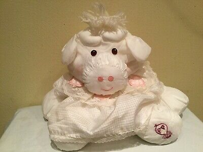 Rare Vintage 1986 Puffalumps 15 Pink Cow Puffalump with White Removeable Dress FP