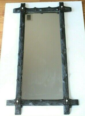 Antique Late 19thC Victorian Black Forest Style Tramp Art Branch Hanging Mirror