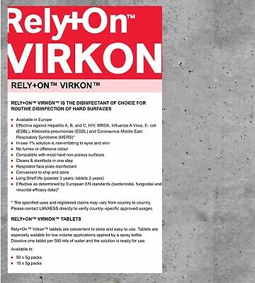 ***Covid1X50gVirkon Rely On + Deep Bacterial & Viral Disinfection Sachet ***