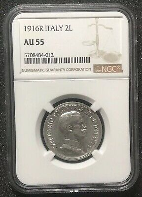 1916 R Italy Silver 2 Lire NGC AU 55