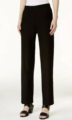 EILEEN FISHER SYSTEM STRAIGHT LEG WASHABLE STRETCH CREPE Pant Black Medium