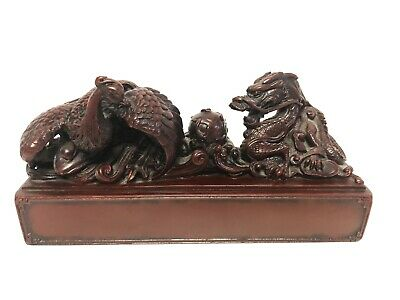 Chinese Antique hand-carved Home Decoration  Foo Dog & Bird Statue Figurine