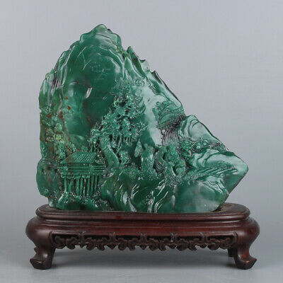 Chinese Exquisite Hand carved landscape carving Green Shoushan Stone statue