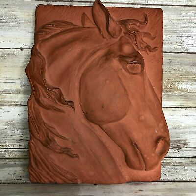 Vintage Wall Hanging Plaque 1995 Handmade Clay? Horse Head 3D Relief Signed