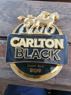 Carlton Black draught dry Beer Tap Badge man cave bar