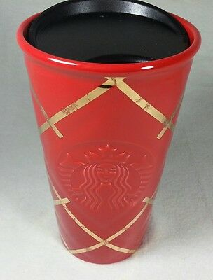 Starbucks Quilted Killer Looking Double Wall Red Traveler Ceramic Mug