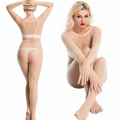 Women Men Sexy Any Cut Jumpsuits Seamless Full Bodyhose Gloves Pantyhose Plus