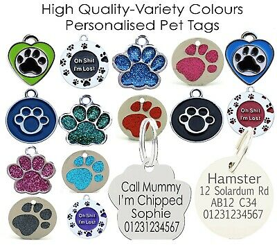 Stainless Metal Round Paw Shape Engraved Id Name Personalised Pet Dog Tag Tags