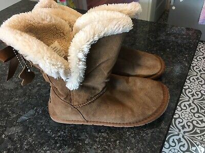 Girls winter brown suede fleece lined  boots - matalan size 3