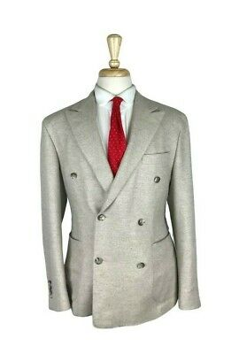 RARE $2295 Hickey Cashmere Cashmere 42S Beige Double Breasted Jacket Sport Coat